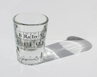 Periodic Table Shot Glass - BRAINY CHICK Double Shooter by Periodically Inspired - Double-Sized Shot - Made In The USA