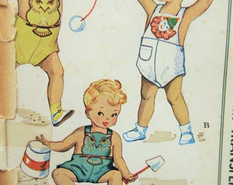 Vintage McCall 1529 Sewing Pattern, Toddler Romper Pattern, 1950s Child Playsuit Pattern, Overall Romper, Baby Pattern Chest 20, Cute Kawaii