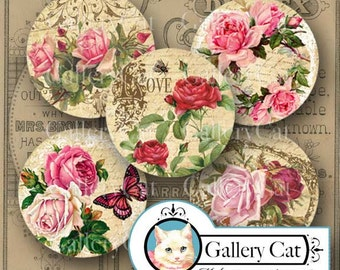 Digital Collage Sheet SWEET COTTAGE ROSES 2.5 Inch Circles Instant Download Art Tags Toppers Pocket Mirror Pin Button Party GalleryCat #307