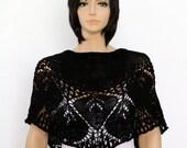 Reserved for Mary Black shawl Spring Hand Knit  Shawl  Knitted Lace Shawl Womens Wraparound Shawl Crocheted shawl