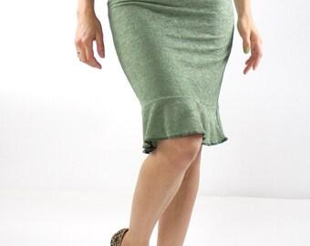 Ruffle Hem Skirt, green Pencil Skirt, Sage skirt Fishtail Skirt above the knee Skirt Pull on Skirt high waisted skirt  Bridesmaid