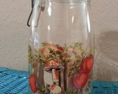 French Arc Glass Canister Jar Mushroom and Vegetables 1.5 Liter Storage Organization 1970s Spools