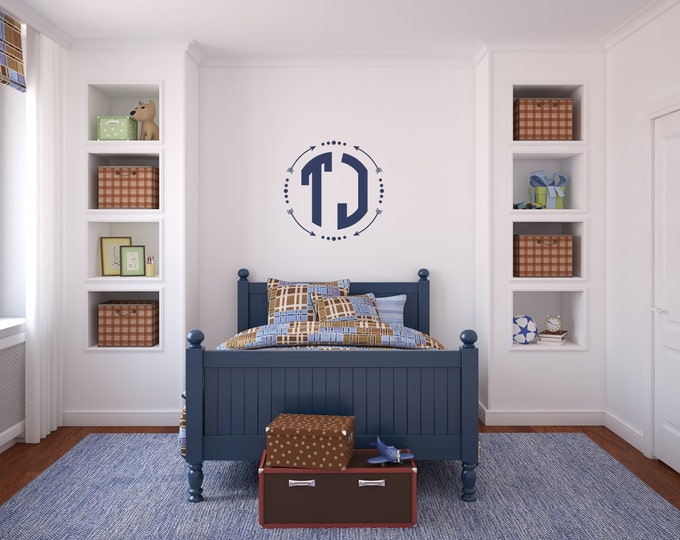 Block Monogram Wall Decal |  Monogram for Boys | Circle Monogram Nursery Decor | Boho Wall Decal