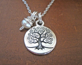 Tree of Life Necklace - Pearl Charm Necklace with Sterling Silver Chain, Boho Tree of Life Pendant