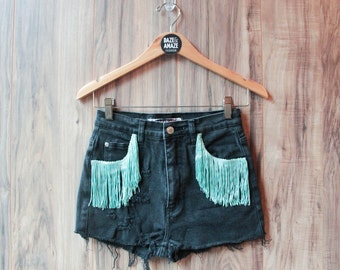 High waist black vintage denim shorts | Ripped distressed short | Teal turquoise fringe | Unique clothing | Hipster festival bohemian shorts