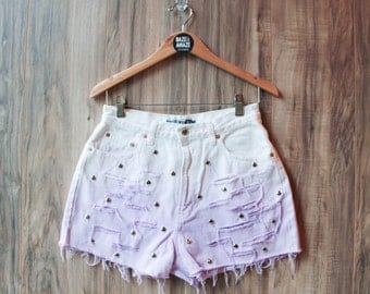 High waist vintage white denim shorts Size 12 | Ripped distressed shorts | Purple ombre studded denim shorts | Festival hipster shorts |