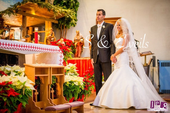 2-Tier CATHEDRAL CASCADING Veil with Satin Ribbon & a Separate Blusher // ribbon, cathedral wedding veil, ivory, long veil, floating veil