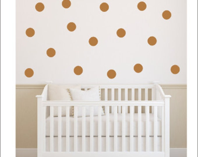 Copper Polka Dot Decals Dots Polka Dot Decals Peel and Stick Vinyl Dots Wall Decals Nursery Dots Office Accent Wall Dots Trendy Polka Dots