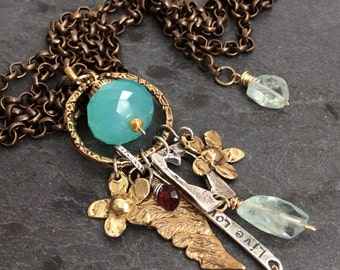 Long charm necklace - 'Charmed Existance' mixed metal boho lux by mollymoojewels