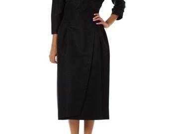 1950s Audrey Hepburn Black Long Sleeve Open Back Dress, Size: XS