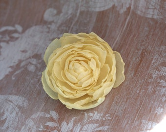 Yellow Fabric Flower, Yellow Flower Girl Flower, Yellow Flower Brooch, Yellow Wedding Clip, Wedding Hair Peony