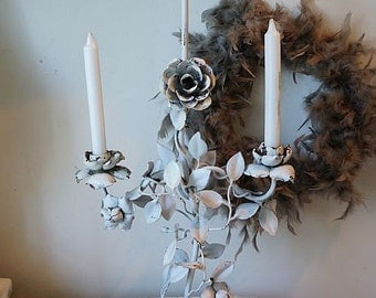 Salvaged tole rose style candelabra French Nordic tall antique candle holder shabby cottage chic chippy home decor anita spero design