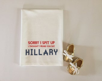 Republican baby gift, 2016 election baby gift burp cloth, Hillary Clinton presidential campaign