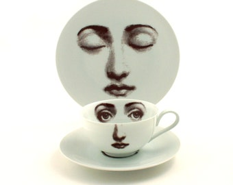 Breakfast Set Altered Porcelain Cup Coffee Tea Saucer Plate Woman Face Vintage White Brown Romantic Whimsical