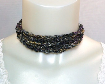 Baroque Ladder Yarn Necklace - Sparkling Ribbon Necklace, Fiber Jewelry, Vegan Necklace, Gift for Friend, Handmade Necklace, Ready to Ship