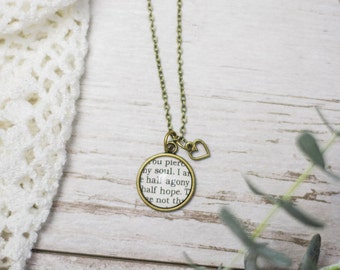 Persuasion Necklace, Jane Austen, You Pierce My Soul, Half Agony, Half Hope, Literary, Jewelry, Book, Book Quote, Love, Proposal, Read