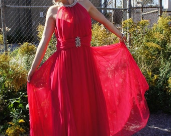 MIKE BENET FORMALS 1960's Hot Pink Chiffon Gown with Waterfall Tassels, Rhinestones, Beading, and Peek-A-Boo Sweetheart Neckline