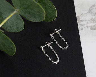 Silver Drop Earrings Silver Stud Earrings Simple Earrings Chain Earrings