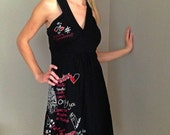 DESIGUAL dress Black red printed dress Jersey summer dress Made in Spain