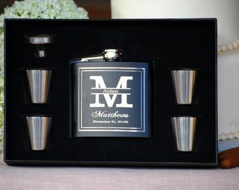 Groomsmen Gift, Flask Gift Set - Personalized Flask, Engraved Flask, Personalized Shot Glasses & Funnel - Wedding Party Flasks
