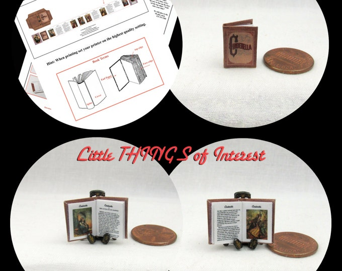 1:12 Miniature Dollhouse Doll CINDERELLA Book PDF and Tutorial Printie for Dollhouse Scale Miniature Accessory Prince Disney Princess