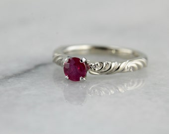 Sweet Scrolling Ruby Solitaire Ring in White Gold, Perfect for Engagement Ring or Any Occasion  5C7PTW-D