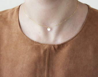 Tiny Disc Necklace / Initial Necklace / Choker Necklace