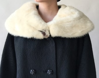"""60s black damask double breasted coat with huge cross mink fur collar / 49"""" bust / XL / XXL"""