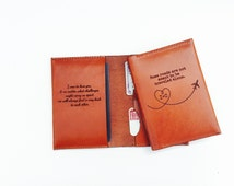Best Wedding Gift - Passport Sleeve Personalized, Groom Gift To Bride, Monogramed, For Couple, Paper Airplane, Custom Quote, For Her