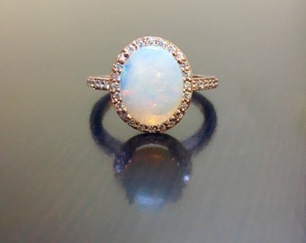 Items similar to Gold Opal Engagement Ring Diamond and Opal Ring