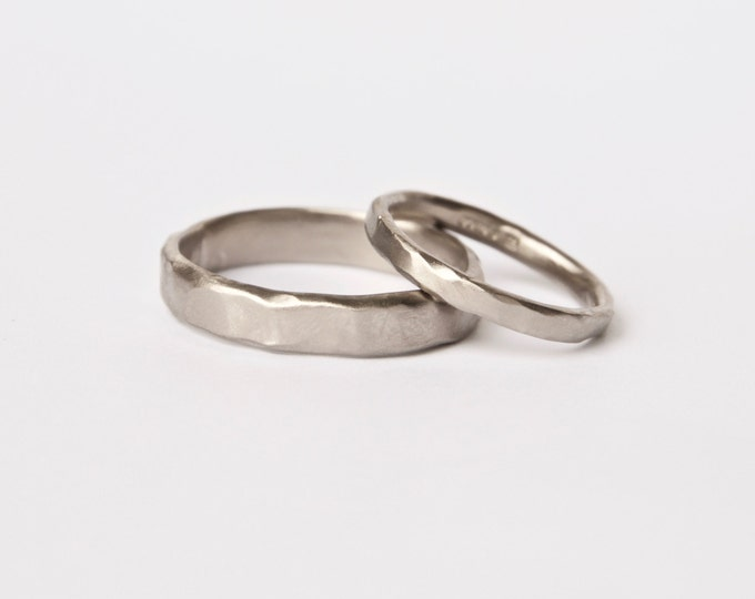 Two Organic White Gold Rings - Wedding Ring Set - Textured Bands  - 18ct Gold Molten Ring - Men's Women's - Couples - Unisex - Unique