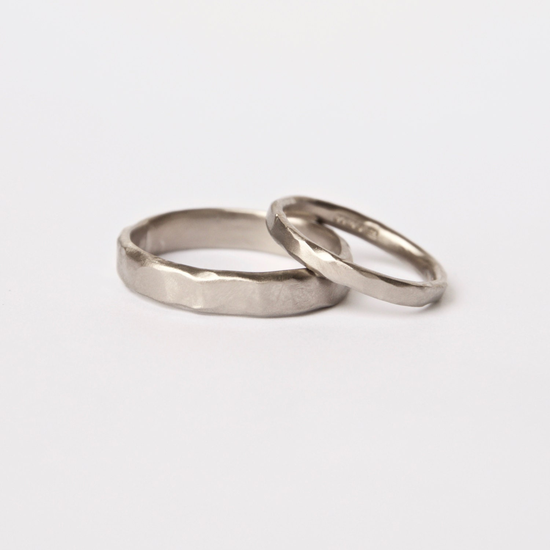 two organic white gold rings wedding ring set textured