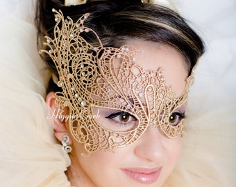 Masquerade Mask Gold Lace Mask Mardi Gras Masks Phantom of the Opera Masks