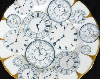 Edible Clock Faces New Years Eve Party Food Decorations Steampunk Cake Cupcake Cookie Toppers Wafer Rice Paper Watch Celebration Face