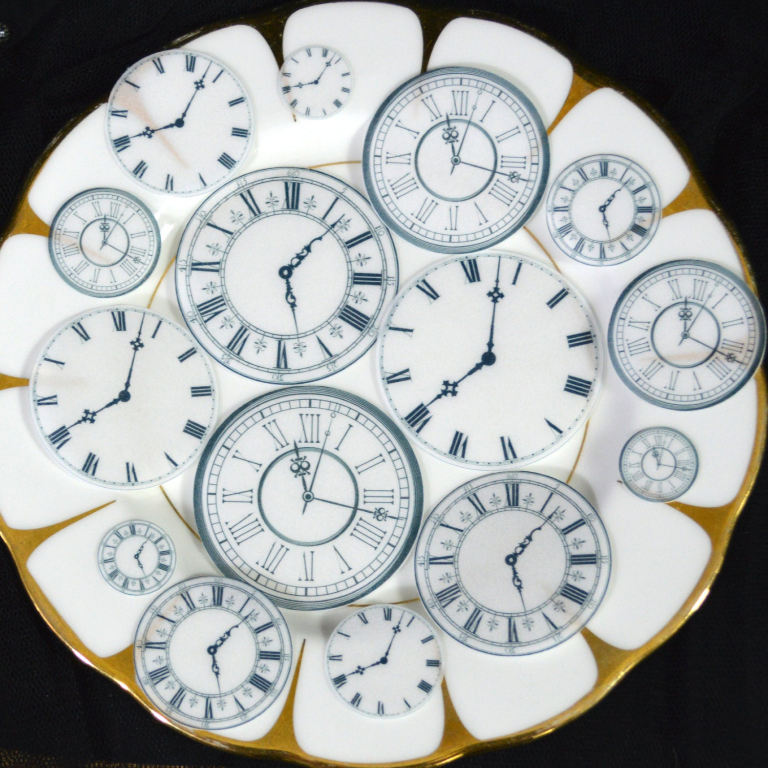Edible Clock Faces Wafer Rice Paper Wedding Cake Decorations