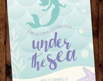 Mermaid Birthday Invitation, Under the Sea Invitations, Little Mermaid Invitation, Little Mermaid Invite, Under the Sea Party Invite #001