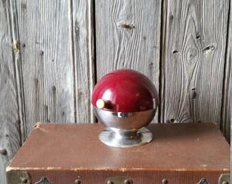 French Vintage Futuristic Cafe Sugar Bowl -  French 1960s Steel Retro Space Age Hinged Sugar Bowl