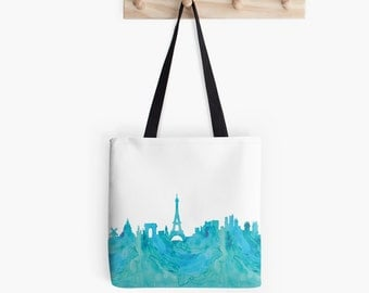 Paris Skyline Tote Bag Canvas. France. Shopping Bag. Eiffel Tower. Hand Bag. Paris Gift