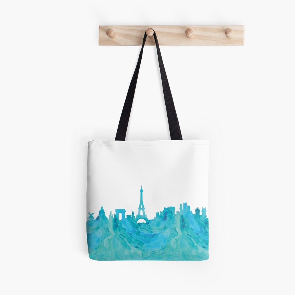 paris skyline tote bag canvas france shopping bag eiffel. Black Bedroom Furniture Sets. Home Design Ideas