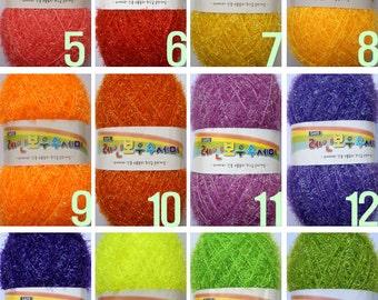 Rainbow Scrubber Yarn / Eyelash Scrubber Yarn / Handmade Dishwash Scrubbies Yarn / Korea Susemi Yarn / Polyester yarn