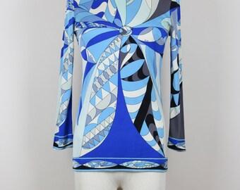Emilio PUCCI 1960s Vintage Top Geometric Print Shades of Blue Sizes Germany 34-36 / UK 8-10 / USA 4-6