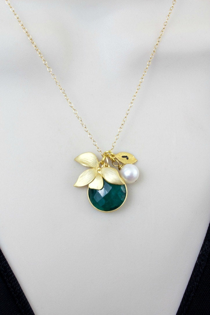 Emerald Necklace Stone Necklace Orchid Necklace Flower - photo#19