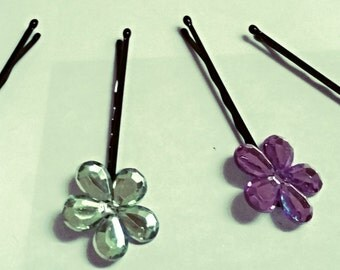 Jeweled Flower Bobbies (set of 4)