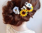 sunflower hair clip, flower hair pin, daisy hair clip, flowers for hair, sunflower wedding, bridal hair, floral hair pins, yellow flower