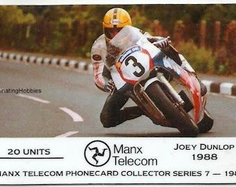 Vintage PHONECARD-Joey DUNLOP- Moto Race Rider in 1988 -winner 13 victories,6 straight wins Formula 1-1989 Mint Collector MANX Telecom n 7