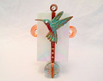 Handmade hummingbird nightlight, copper bird, glass with bird, bird light, copper, glass, hostess gift