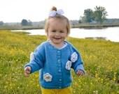 Flower Cardigan -- Girls Baby Sweater -- Childrens Clothing -- WHITTIER STREET -- Blue Flowered Sweater -- Daisy Sweater