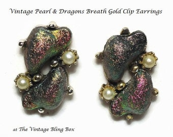 50s Dragons Breath Clip Earrings with Seed Pearl Accents & Color Changing Beads Set in Gold - Vintage 50's to 60's Costume Jewelry