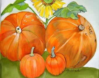 Bright Pumpkins & A Sassy Sunflower Pillow 14x14 Hand Painted Original Art Fall Harvest Sunny Sunflower Orange Pumpkins Pillow Decor