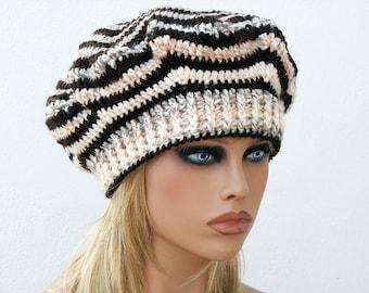 Crochet beret, Zig Zag Beret, Womens Hat, Zig Zag Hat, Slouchy Beanie, Shunky Hat. Beige Brown Crocheted Hat, Tam.